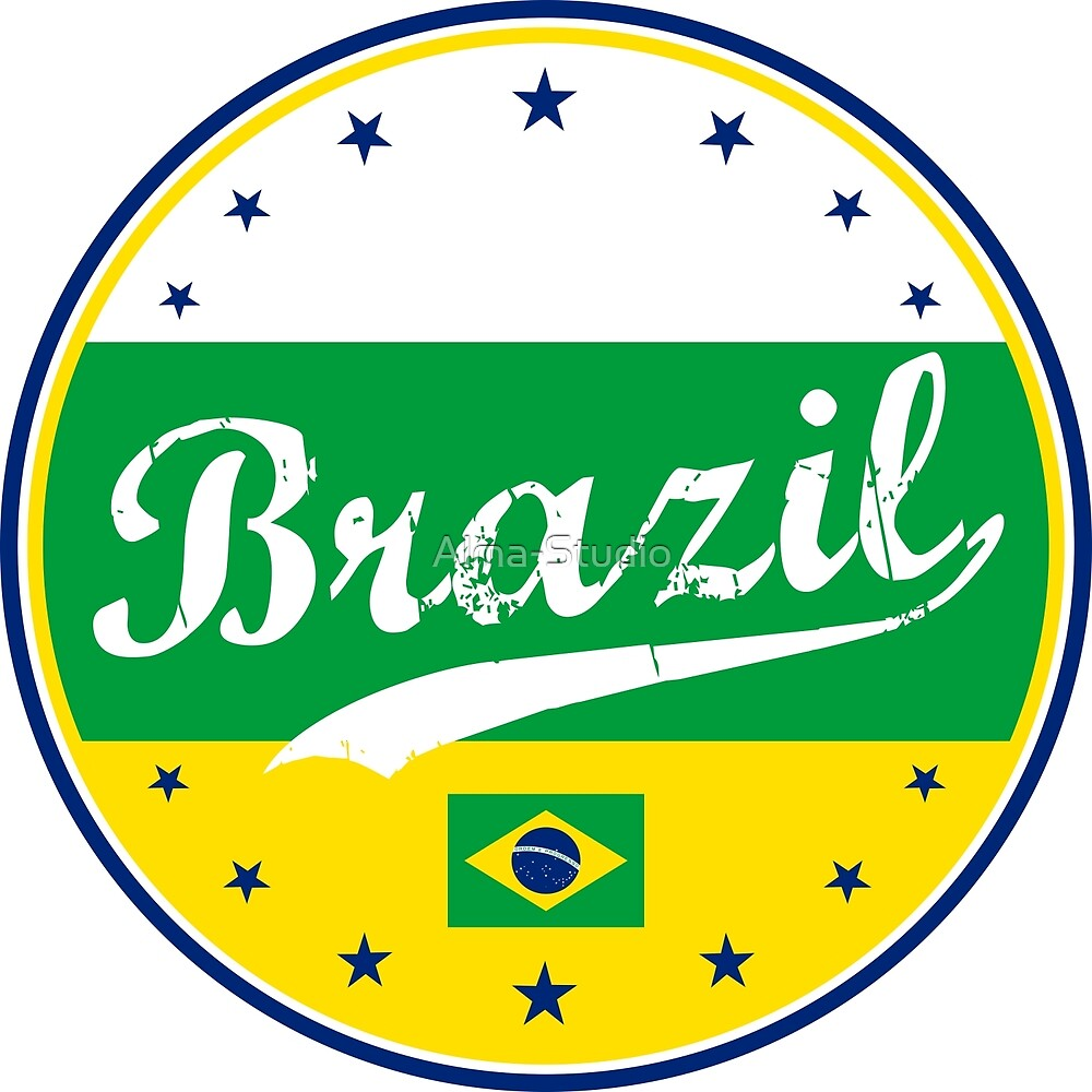 Brazil, circle, with flag by Alma-Studio