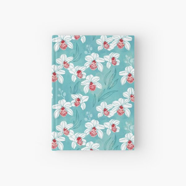 Orchid garden in white and turquoise green Hardcover Journal