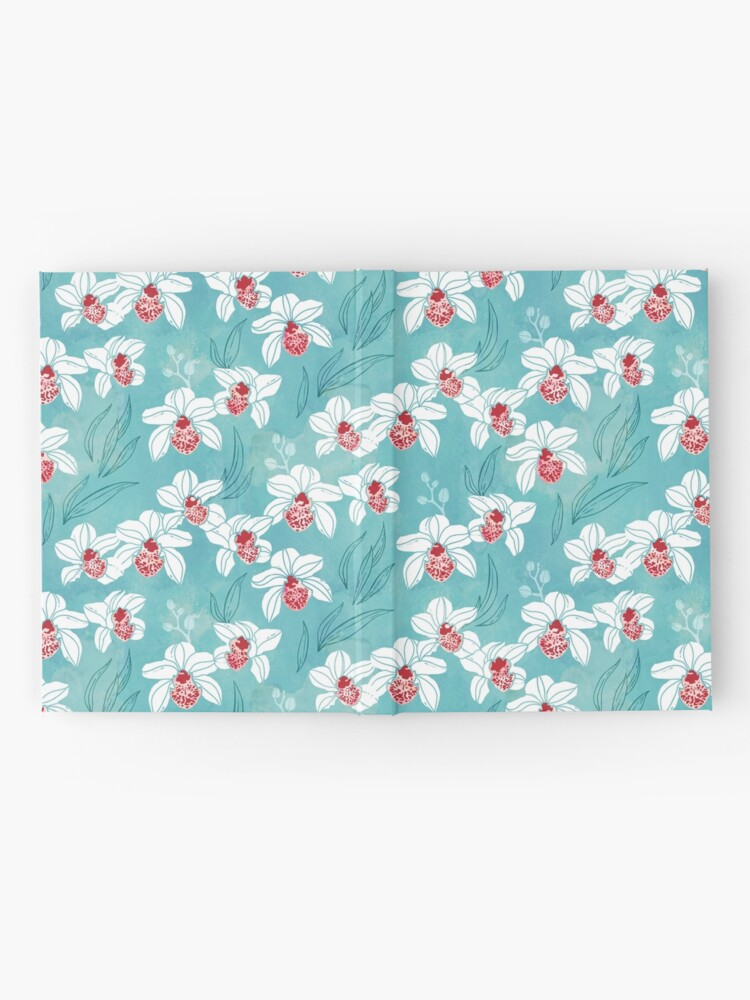 Alternate view of Orchid garden in white and turquoise green Hardcover Journal