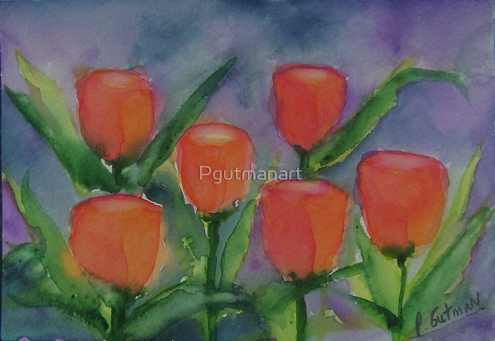Tulips so Bold,   watercolor,  by Penny Gutman by Pgutmanart