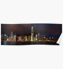 Hong Kong Night Panorama A Poster