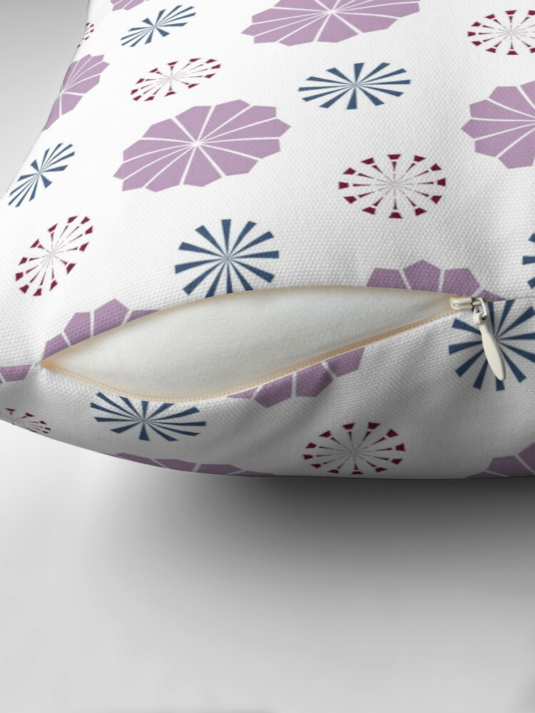 Alternate view of Pink and Blue Geometric Flowers Throw Pillow