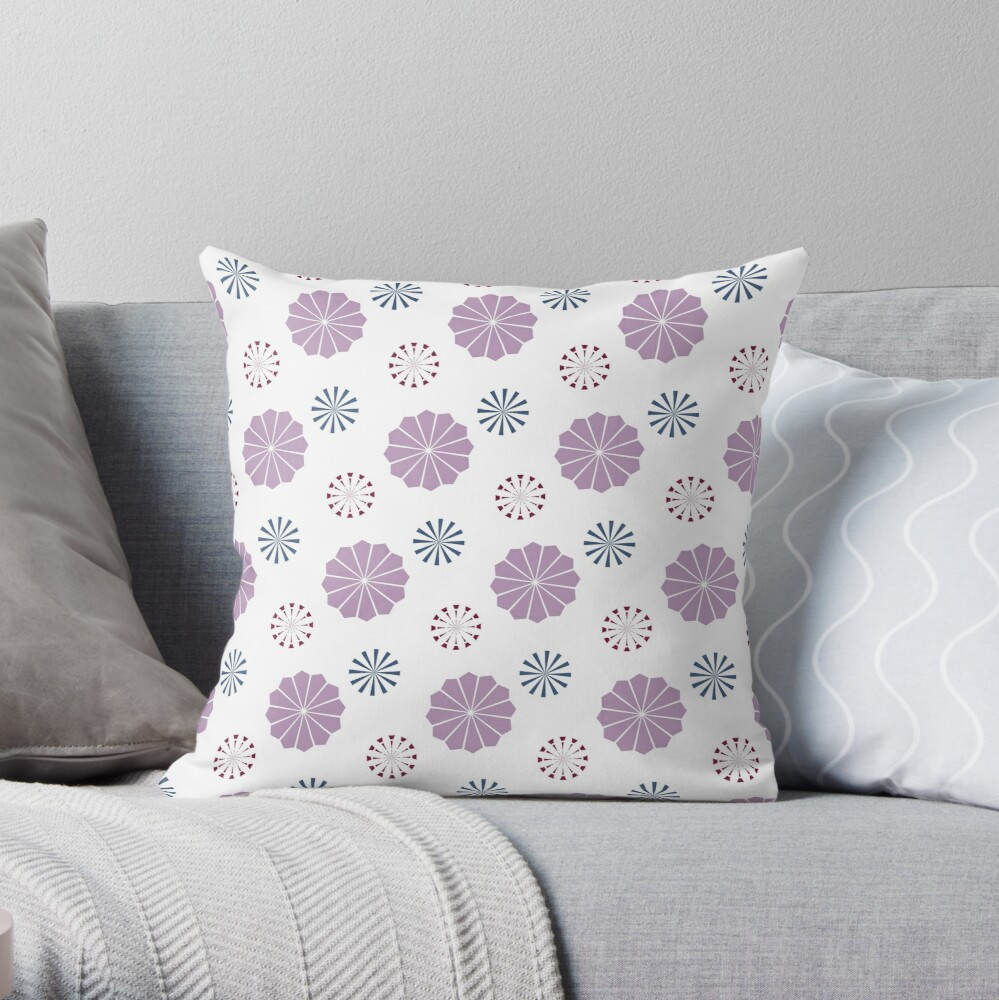 Pink and Blue Geometric Flowers Throw Pillow