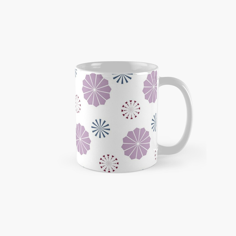 Pink and Blue Geometric Flowers Mug