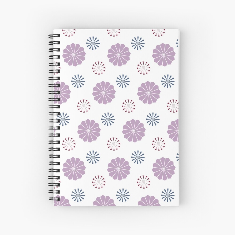 Pink and Blue Geometric Flowers Spiral Notebook