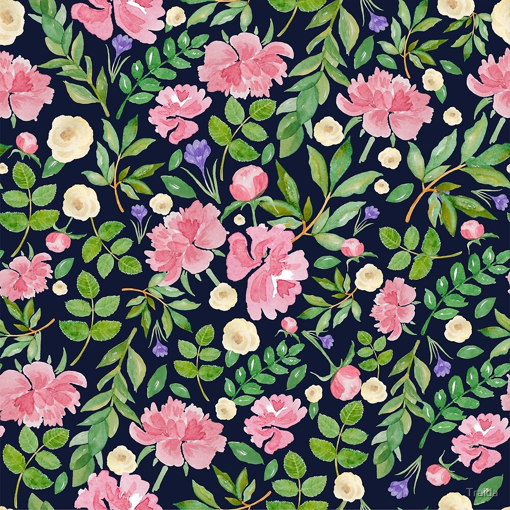 Seamless floral pattern, hand-drawn watercolor by Traida