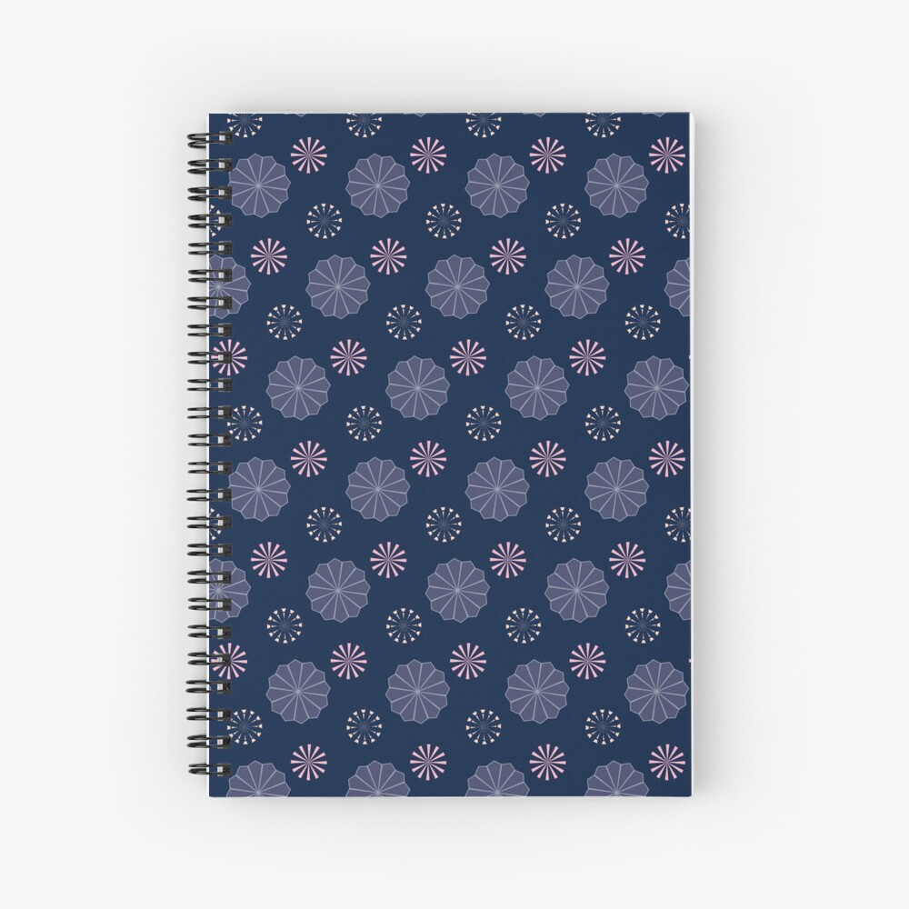 Pink and Purple Flowers at Night Spiral Notebook