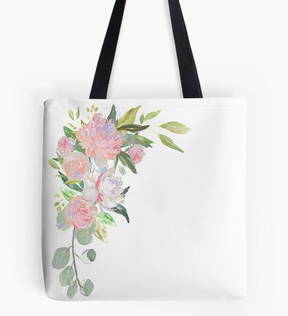 Pink Floral Border Tote Bag
