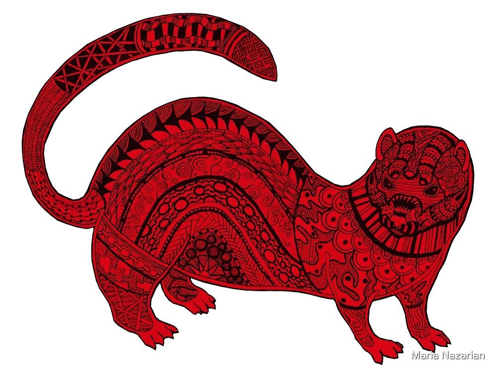 Red zentangle ferret  by Maria Nazarian