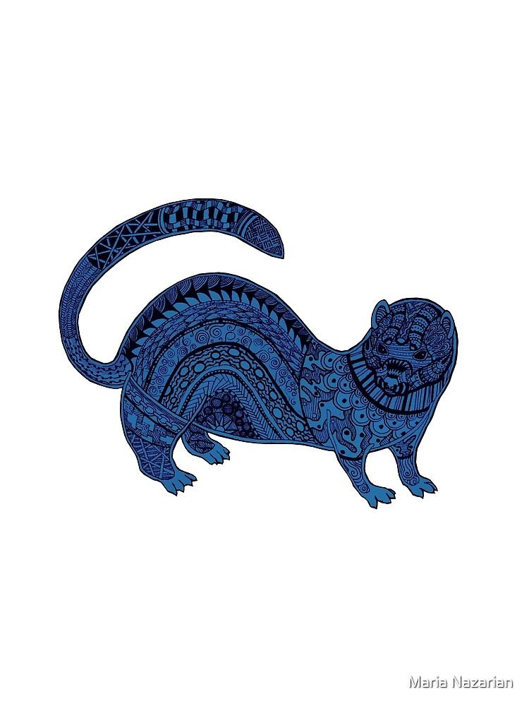 Blue zentangle ferret by Arollo