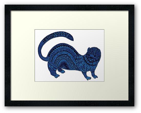 Blue zentangle ferret by Maria Nazarian