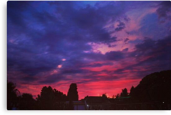 purple blue summer sunset night village clouds sky by ramisdesigns