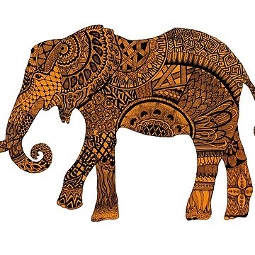 Yellow zentangle elephant by Arollo