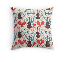 Music Instruments Pattern Throw Pillow