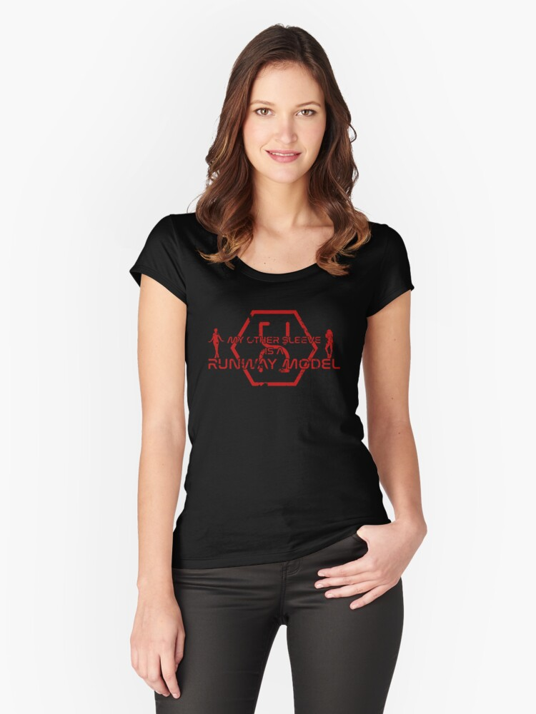 My other sleeve is a runway model - red Women's Fitted Scoop T-Shirt Front