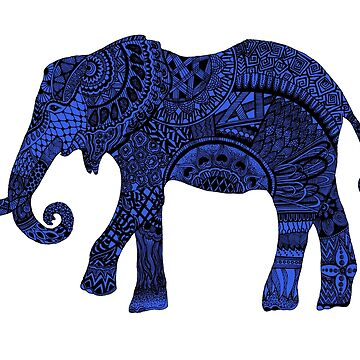 Blue zentangle elephant by Arollo