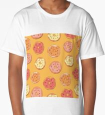 Vintage Pattern with Donuts in Colored Glaze Long T-Shirt