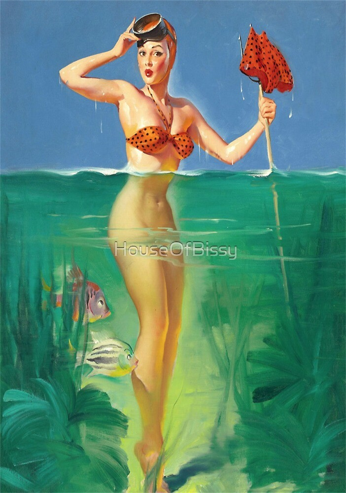 Pinup Girl in Ocean Water Spear Fishing , Vintage pinup , retro pinup, pinup girls, ocean, pinup girl fishing, pinup girl,  by HouseOfBissy