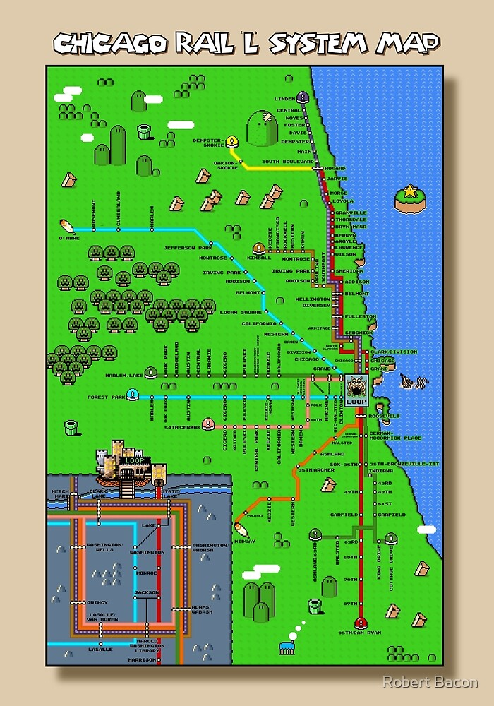 Chicago Super Mario World Map By Robert Bacon Redbubble