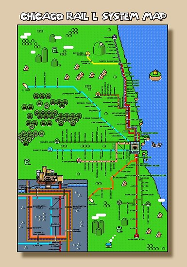 Chicago Super Mario World Map Posters By Robert Bacon Redbubble