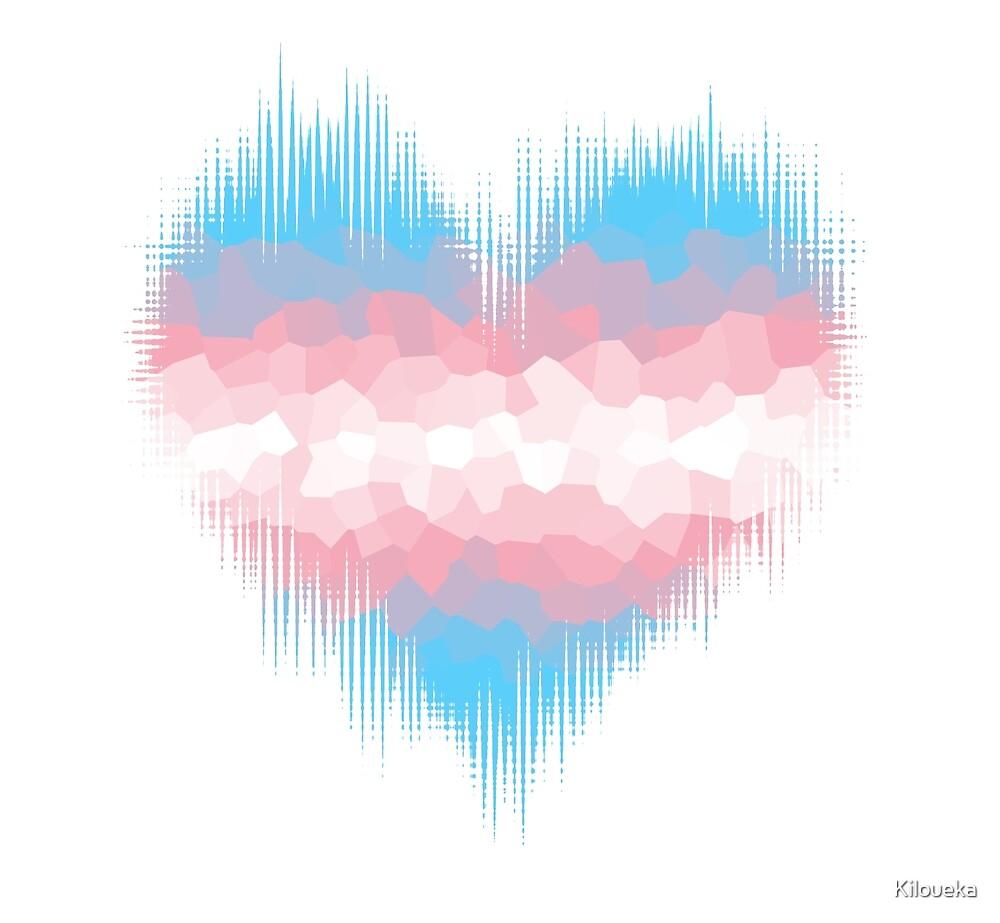 Transgender Trans Glitch Heart by Kiloueka