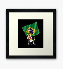 Brazil fan cat Framed Print