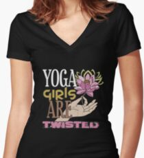 YOGA Girls Are Twisted Women's Fitted V-Neck T-Shirt