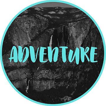 ADVENTURE Yosemite Waterfall Photo Black White Turquoise by rachelallison