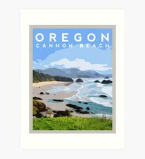 Cannon Beach, Oregon Travel Illustration Art Print