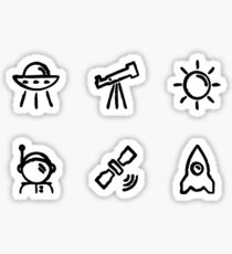 Six Space Minis Doodles Sticker