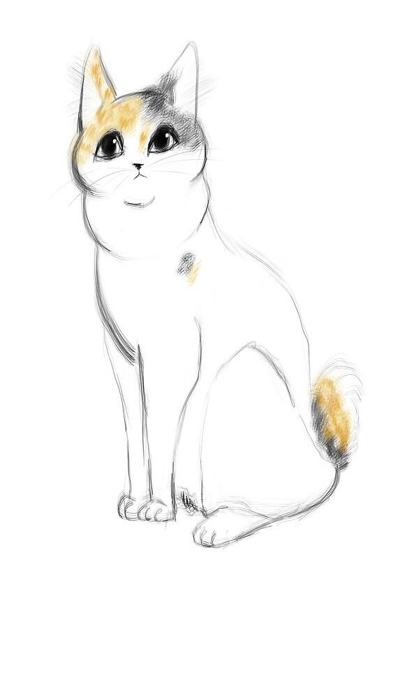Chubby Japanese Bobtail Cat by MollyCa