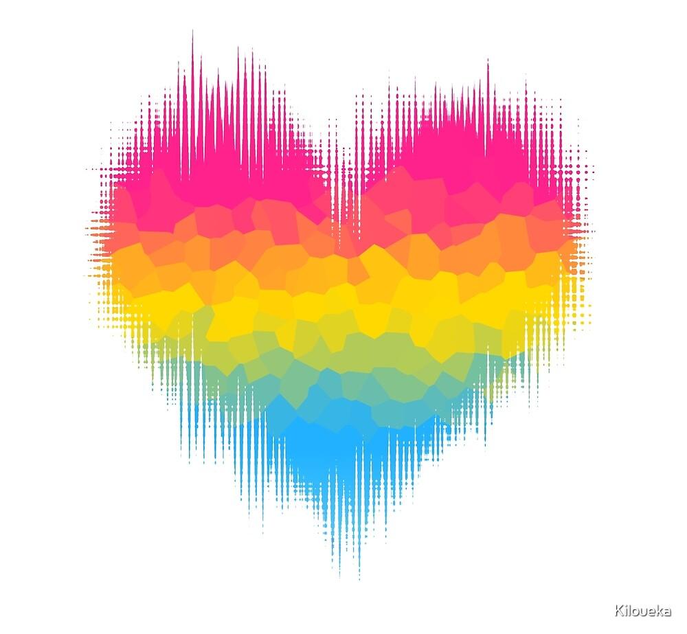 Pansexual Panromantic Glitch Heart by Kiloueka