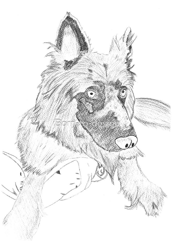 Hand drawn german shepherd  by Born-to-design