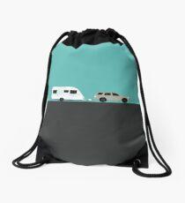 Caravan road trip | Green Drawstring Bag