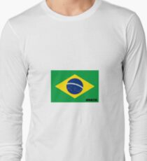 Brazil Flag with Name Long Sleeve T-Shirt