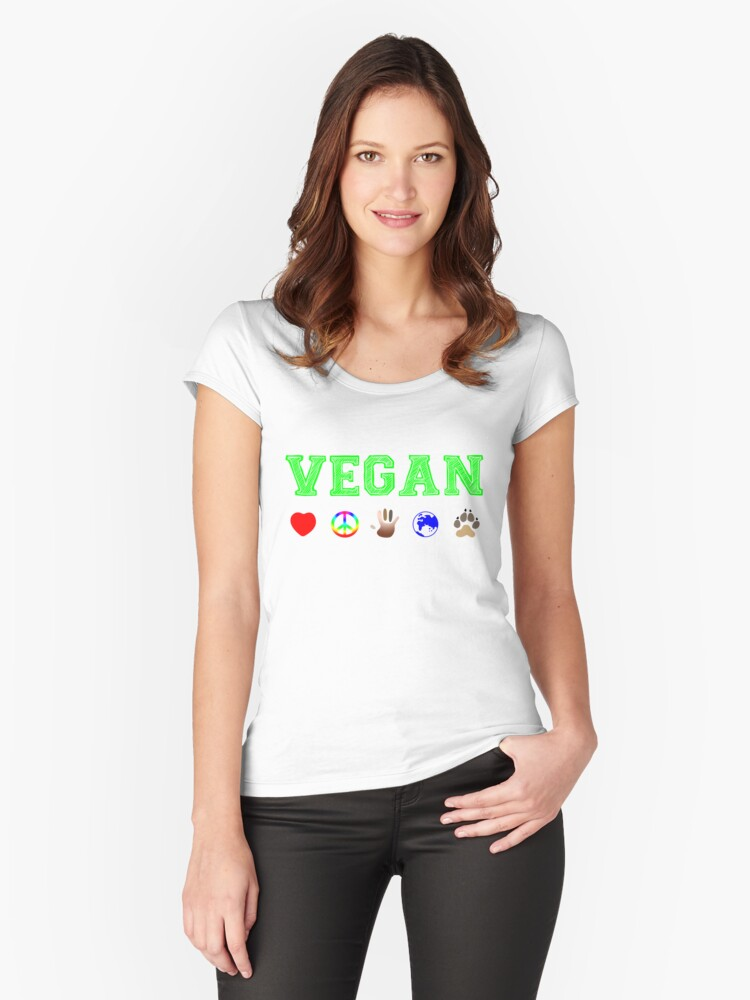 Vegan Peace and Love Women's Fitted Scoop T-Shirt Front
