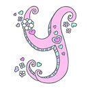 Letter Y monogram flower and heart art by Sarah Trett