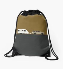 Caravan road trip | Gold Drawstring Bag