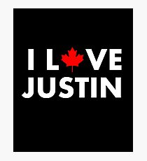 I Love Justin I Heart Justin With Maple Leaf Dark Color Photographic Print