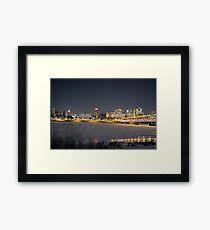 Harrisburg Skyline at Night in Winter Framed Print