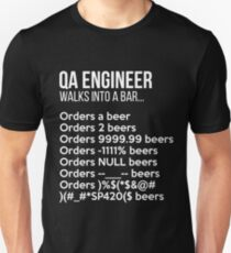 QA Engineer Walks into a Bar T-Shirt Funny Debugging Unisex T-Shirt