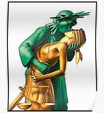 Lady Liberty and Justice Kiss Poster