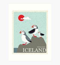 Island Vintage Reise Poster Kunstdruck