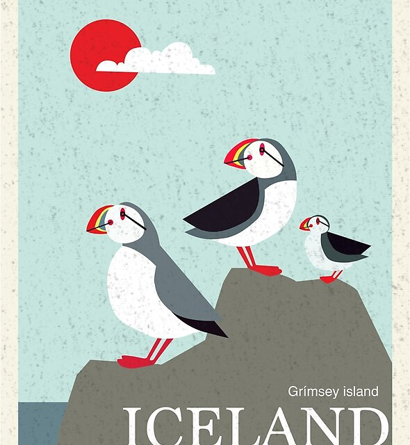 Iceland Vintage Travel Poster by kirkdesigns1996