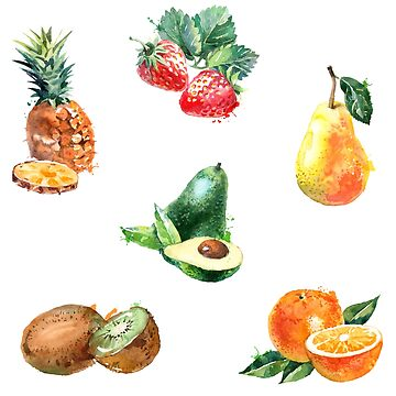 Watercolor Fruit Sticker Pack by hocapontas