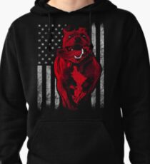 American Bully With American Flag In The Background Pullover Hoodie