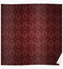 Red Faux Satin Gothic Damask Poster