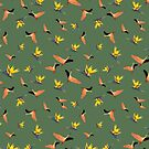 Flamingos auf grünem Hintergrund von PearTreePond