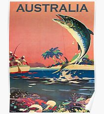 Australia, catching a big fish, vintage travel poster Poster