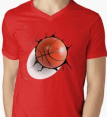 Basketball Ball Coming in Cracked Wall  Men's V-Neck T-Shirt